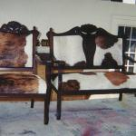 Vintage chair with cow hide